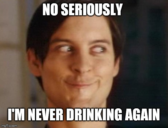 Spiderman Peter Parker Meme | NO SERIOUSLY I'M NEVER DRINKING AGAIN | image tagged in memes,spiderman peter parker | made w/ Imgflip meme maker