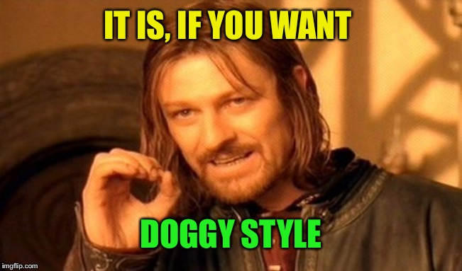 One Does Not Simply Meme | IT IS, IF YOU WANT DOGGY STYLE | image tagged in memes,one does not simply | made w/ Imgflip meme maker