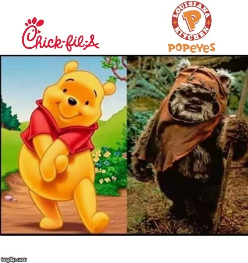 Whinney The Pooh Chic Fil A vs Popeyes | COVELL BELLAMY III | image tagged in whinney the pooh chic fil a vs popeyes | made w/ Imgflip meme maker
