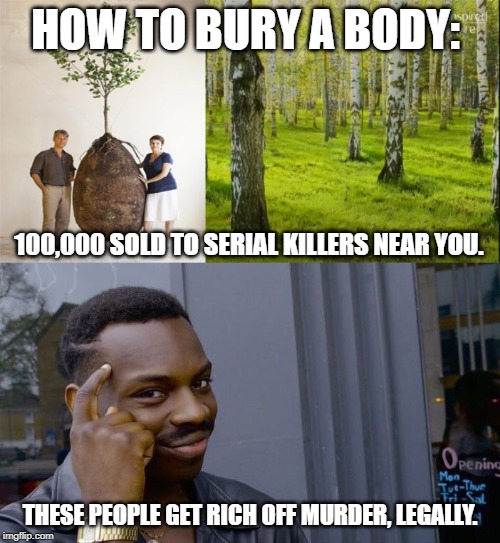 HOW TO BURY A BODY: THESE PEOPLE GET RICH OFF MURDER, LEGALLY. 100,000 SOLD TO SERIAL KILLERS NEAR YOU. | image tagged in memes,roll safe think about it,burial pods family plot | made w/ Imgflip meme maker