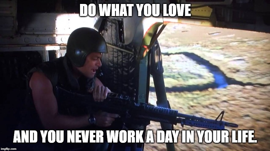 DO WHAT YOU LOVE AND YOU NEVER WORK A DAY IN YOUR LIFE. | image tagged in gunner | made w/ Imgflip meme maker