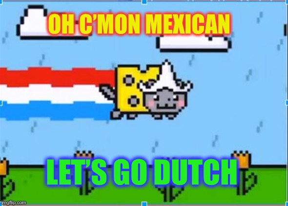 dutch nyan cat | OH C'MON MEXICAN LET'S GO DUTCH | image tagged in dutch nyan cat | made w/ Imgflip meme maker