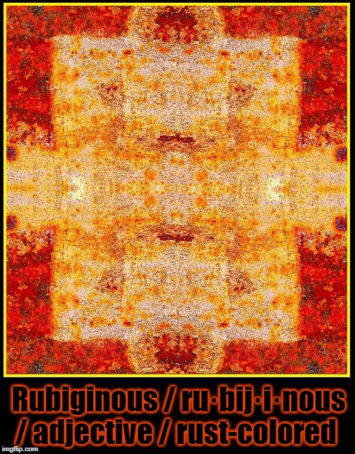 Word of the Day: Rubiginous | Rubiginous / ru·bij·i·nous / adjective / rust-colored | image tagged in vince vance,vocabulary,rust,rust-colored,red-orange,word of the day | made w/ Imgflip meme maker