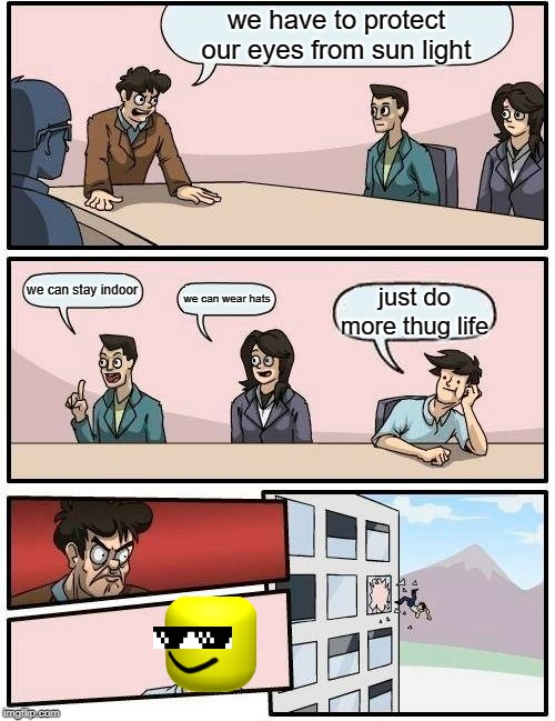 Boardroom Meeting Suggestion Meme | we have to protect our eyes from sun light we can stay indoor we can wear hats just do more thug life | image tagged in memes,boardroom meeting suggestion | made w/ Imgflip meme maker