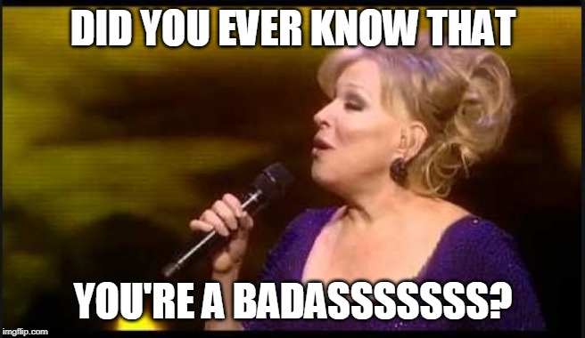 DID YOU EVER KNOW THAT YOU'RE A BADASSSSSSS? | image tagged in did you ever know that you're my hero,bette midler,you're a badass,bette memes,hero memes | made w/ Imgflip meme maker
