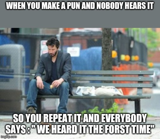 "Sad Keanu Meme | WHEN YOU MAKE A PUN AND NOBODY HEARS IT SO YOU REPEAT IT AND EVERYBODY SAYS : "" WE HEARD IT THE FORST TIME"" 