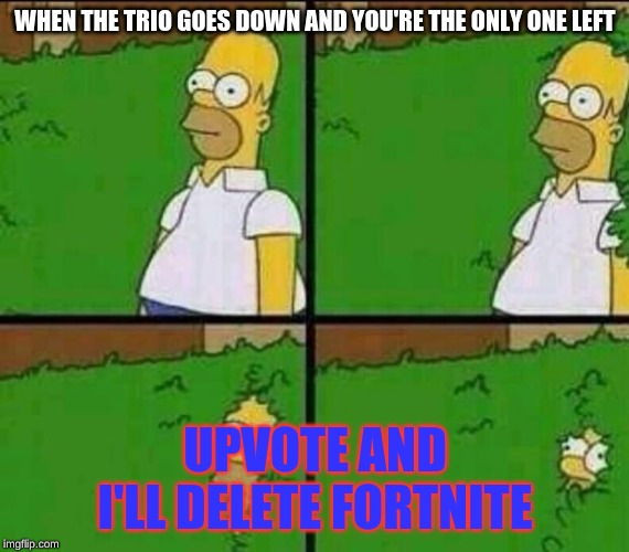 Homer Simpson in Bush - Large | WHEN THE TRIO GOES DOWN AND YOU'RE THE ONLY ONE LEFT UPVOTE AND I'LL DELETE FORTNITE | image tagged in homer simpson in bush - large | made w/ Imgflip meme maker
