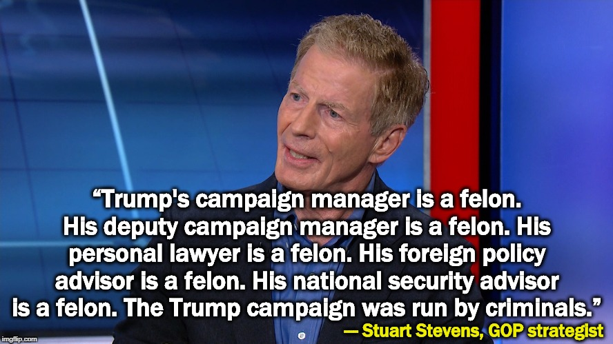 "History was made here. | ""Trump's campaign manager is a felon. His deputy campaign manager is a felon. His personal lawyer is a felon. His foreign policy advisor is  