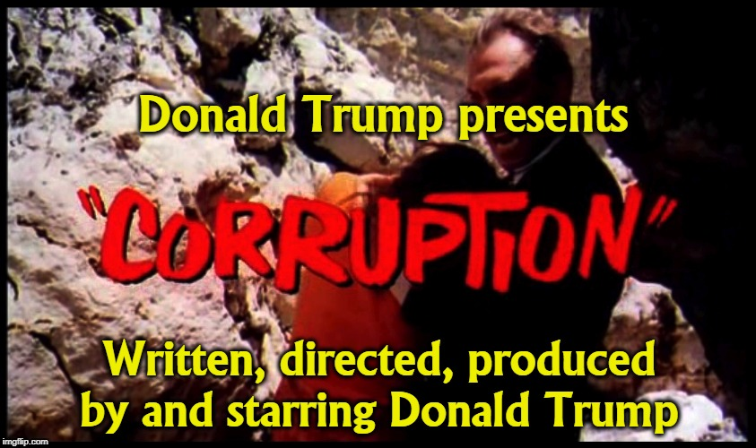 Streaming all over the country. | Donald Trump presents Written, directed, produced by and starring Donald Trump | image tagged in trump,corruption,movies,self-dealing,under the table,bribe | made w/ Imgflip meme maker