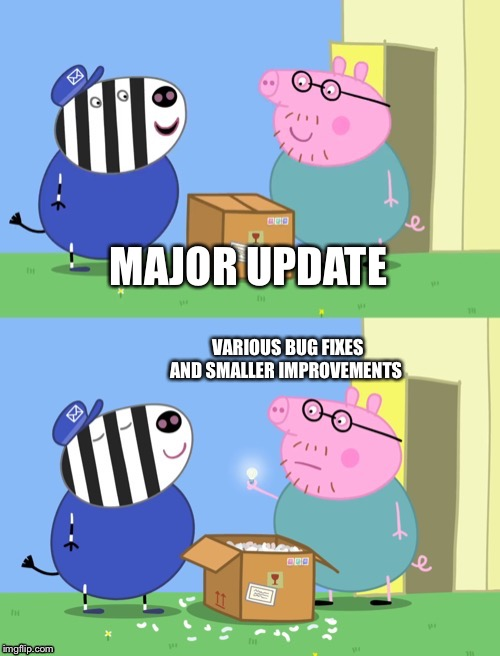 MAJOR UPDATE VARIOUS BUG FIXES AND SMALLER IMPROVEMENTS | image tagged in peppa pig box | made w/ Imgflip meme maker
