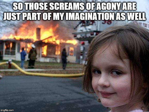 Disaster Girl Meme | SO THOSE SCREAMS OF AGONY ARE JUST PART OF MY IMAGINATION AS WELL | image tagged in memes,disaster girl | made w/ Imgflip meme maker