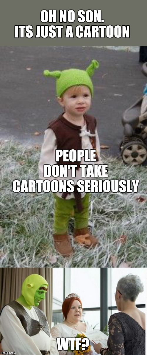 SHREK WEDDING | OH NO SON. ITS JUST A CARTOON WTF? PEOPLE DON'T TAKE CARTOONS SERIOUSLY | image tagged in shrek,wedding,kid | made w/ Imgflip meme maker