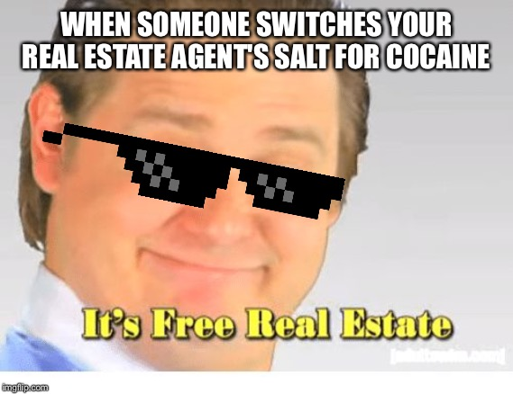 Don't Eat Cocaine! Or Snort It! | WHEN SOMEONE SWITCHES YOUR REAL ESTATE AGENT'S SALT FOR COCAINE | image tagged in it's free real estate,salt,cocaine,food,too damn high,drugs | made w/ Imgflip meme maker