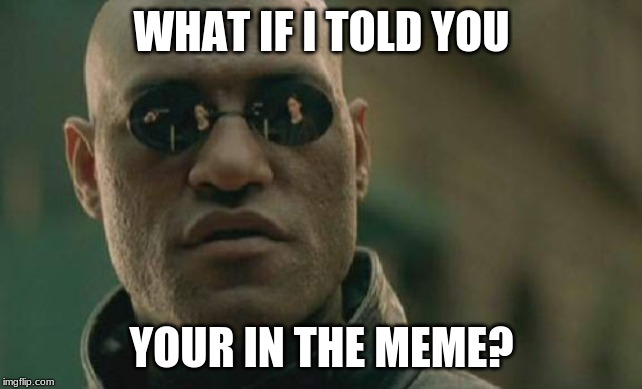 Matrix Morpheus Meme | WHAT IF I TOLD YOU YOUR IN THE MEME? | image tagged in memes,matrix morpheus | made w/ Imgflip meme maker