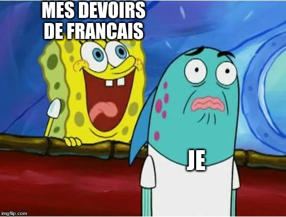 MES DEVOIRS DE FRANCAIS JE | image tagged in spongebob yelling | made w/ Imgflip meme maker