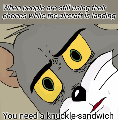 when the aircraft is landing | When people are still using their phones while the aircraft is landing You need a knuckle sandwich | image tagged in memes,funny,scared,mad,but why tho,knuckles | made w/ Imgflip meme maker