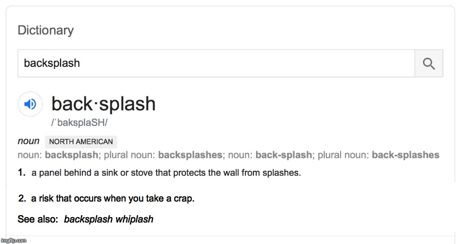 You may be facing this risk right now  ( : | 1. 2.  a risk that occurs when you take a crap. See also: backsplash whiplash | image tagged in memes,backsplash,dictionary | made w/ Imgflip meme maker