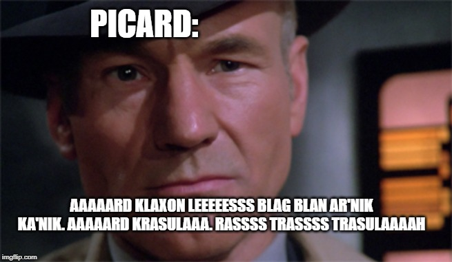 Star Trek TNG Goodbye | AAAAARD KLAXON LEEEEESSS BLAG BLAN AR'NIK KA'NIK. AAAAARD KRASULAAA. RASSSS TRASSSS TRASULAAAAH PICARD: | image tagged in star trek the next generation,star trek tng,captain picard,picard,play on words | made w/ Imgflip meme maker