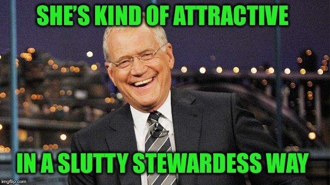 david letterman | SHE'S KIND OF ATTRACTIVE IN A S**TTY STEWARDESS WAY | image tagged in david letterman | made w/ Imgflip meme maker
