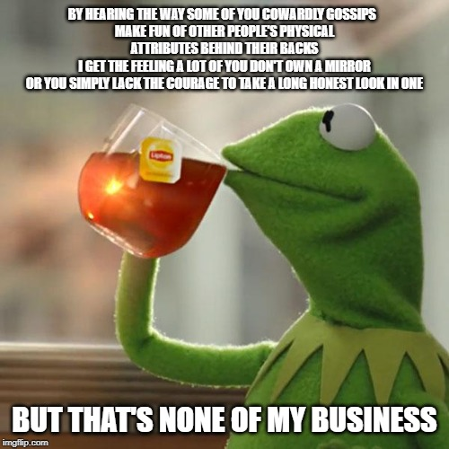 Self Reflection | BY HEARING THE WAY SOME OF YOU COWARDLY GOSSIPS   MAKE FUN OF OTHER PEOPLE'S PHYSICAL ATTRIBUTES BEHIND THEIR BACKS I GET THE FEELING A LOT  | image tagged in memes,but thats none of my business,kermit the frog,self reflection,gossip,cowards | made w/ Imgflip meme maker