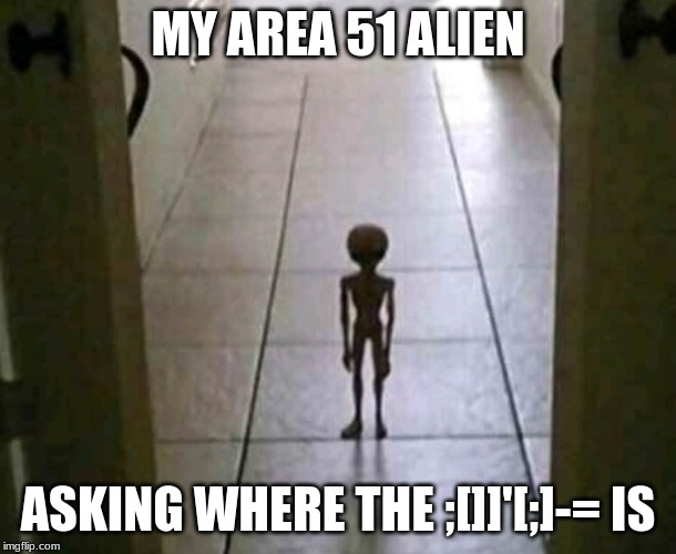 MY AREA 51 ALIEN ASKING WHERE THE ;[]]'[;]-= IS | image tagged in my alien at 3am | made w/ Imgflip meme maker