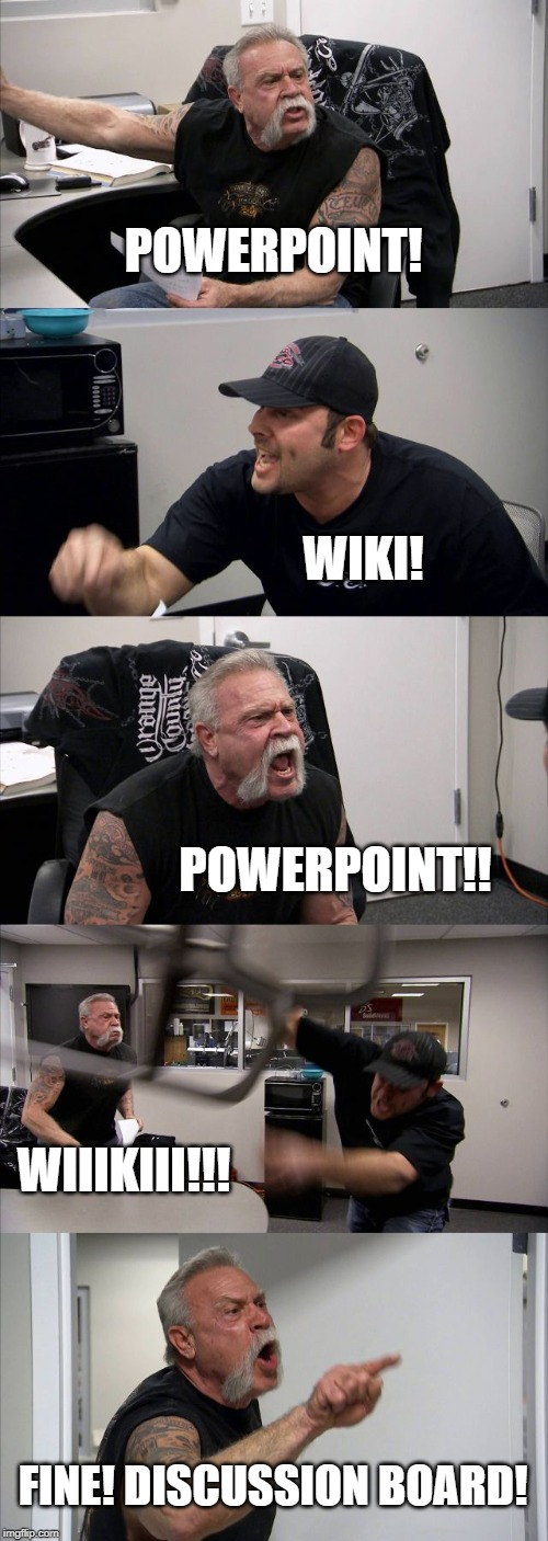 How Professors Choose Assignments | POWERPOINT! WIKI! POWERPOINT!! WIIIKIII!!! FINE! DISCUSSION BOARD! | image tagged in memes,american chopper argument,wiki,powerpoint,grad school,homework | made w/ Imgflip meme maker