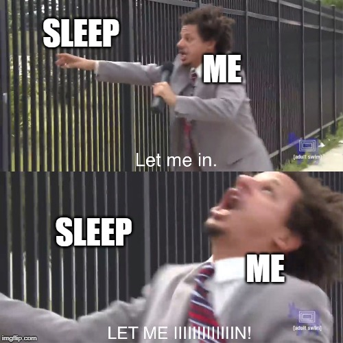let me in | SLEEP ME ME SLEEP | image tagged in let me in,eric andre,2019,sleep,work,student life | made w/ Imgflip meme maker