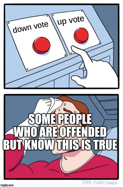 Two Buttons Meme | down vote up vote SOME PEOPLE WHO ARE OFFENDED BUT KNOW THIS IS TRUE | image tagged in memes,two buttons | made w/ Imgflip meme maker