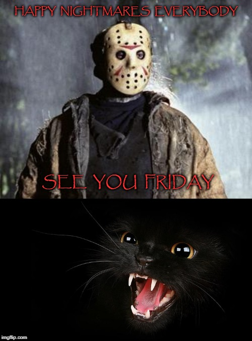 HAPPY  NIGHTMARES  EVERYBODY SEE  YOU  FRIDAY | image tagged in friday 13th jason | made w/ Imgflip meme maker
