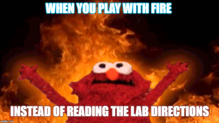 elmo fire | WHEN YOU PLAY WITH FIRE INSTEAD OF READING THE LAB DIRECTIONS | image tagged in elmo fire | made w/ Imgflip meme maker