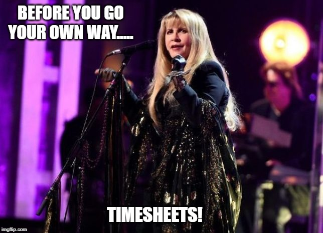Fleetwood Mac  Timesheet Reminder | BEFORE YOU GO YOUR OWN WAY..... TIMESHEETS! | image tagged in fleetwood mac  timesheet reminder,timesheet meme,timesheet reminder,go your own way,fleetwood mac | made w/ Imgflip meme maker