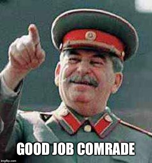 Stalin says | GOOD JOB COMRADE | image tagged in stalin says | made w/ Imgflip meme maker