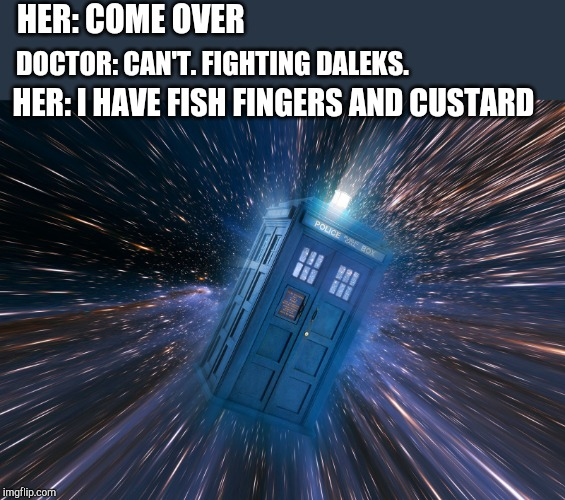HER: COME OVER; DOCTOR: CAN'T. FIGHTING DALEKS. HER: I HAVE FISH FINGERS AND CUSTARD | image tagged in doctor who,doctor,fish,funny meme,time travel,space | made w/ Imgflip meme maker