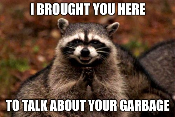 Evil Plotting Raccoon | I BROUGHT YOU HERE TO TALK ABOUT YOUR GARBAGE | image tagged in memes,evil plotting raccoon | made w/ Imgflip meme maker