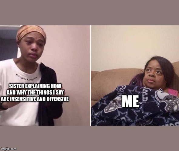 Me explaining to my mom | SISTER EXPLAINING HOW AND WHY THE THINGS I SAY ARE INSENSITIVE AND OFFENSIVE ME | image tagged in me explaining to my mom | made w/ Imgflip meme maker