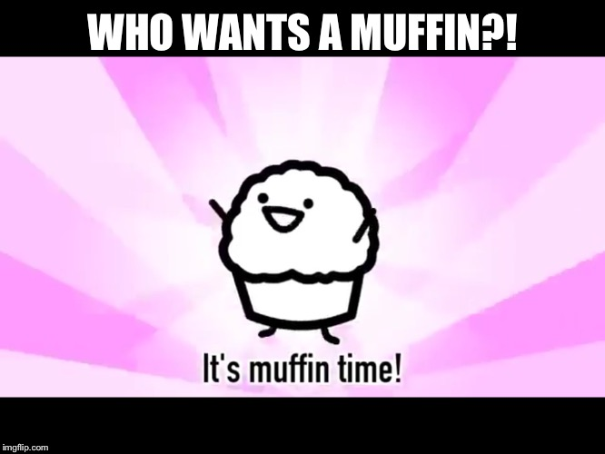 It's muffin time! | WHO WANTS A MUFFIN?! | image tagged in it's muffin time | made w/ Imgflip meme maker