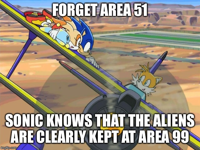 Doubt this is still relevant, but still.... | FORGET AREA 51 SONIC KNOWS THAT THE ALIENS ARE CLEARLY KEPT AT AREA 99 | image tagged in sonic the hedgehog,sonic x,area 51 | made w/ Imgflip meme maker