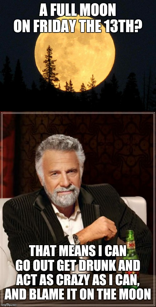 FRIDAY THE 13TH FULL MOON | A FULL MOON ON FRIDAY THE 13TH? THAT MEANS I CAN GO OUT GET DRUNK AND ACT AS CRAZY AS I CAN, AND BLAME IT ON THE MOON | image tagged in memes,the most interesting man in the world,full moon,friday the 13th | made w/ Imgflip meme maker