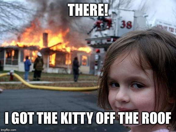 Disaster Girl Meme | THERE! I GOT THE KITTY OFF THE ROOF | image tagged in memes,disaster girl | made w/ Imgflip meme maker