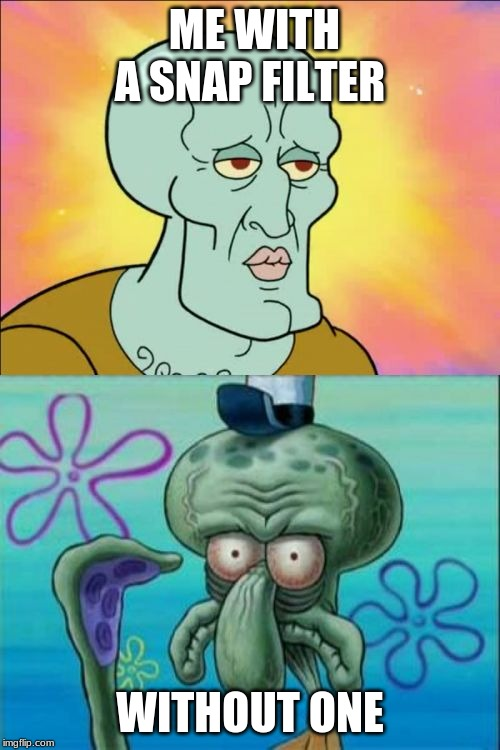 Squidward Meme | ME WITH A SNAP FILTER WITHOUT ONE | image tagged in memes,squidward | made w/ Imgflip meme maker