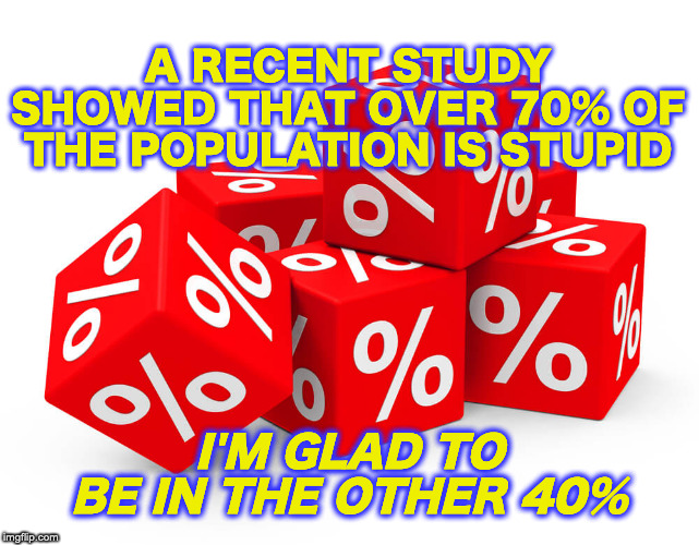 ...and over 65% are below average! | A RECENT STUDY SHOWED THAT OVER 70% OF THE POPULATION IS STUPID I'M GLAD TO BE IN THE OTHER 40% | image tagged in stupid people,statistics | made w/ Imgflip meme maker
