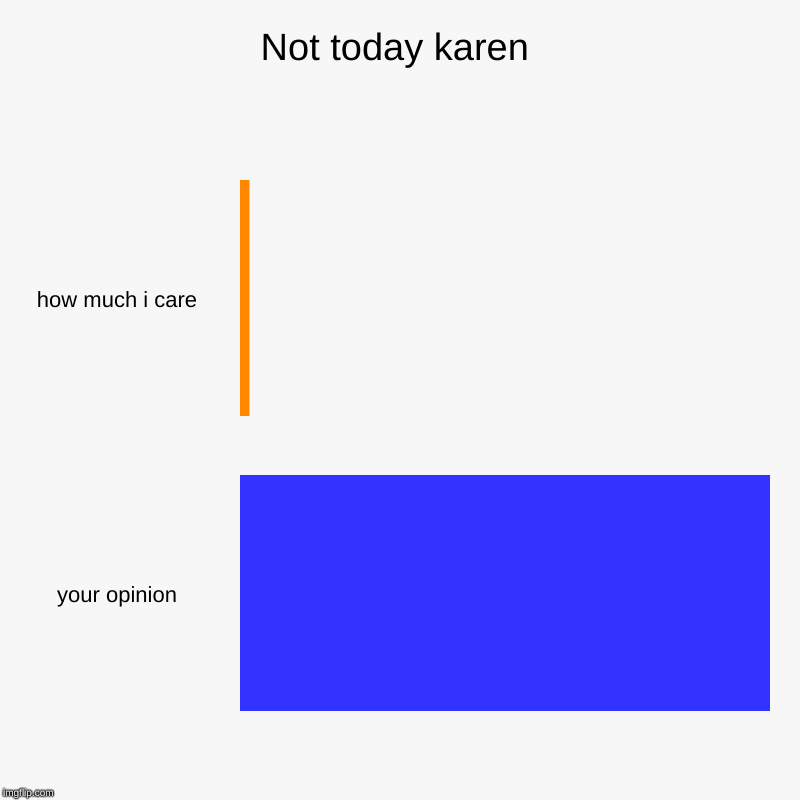 Not today karen | how much i care, your opinion | image tagged in charts,bar charts | made w/ Imgflip chart maker