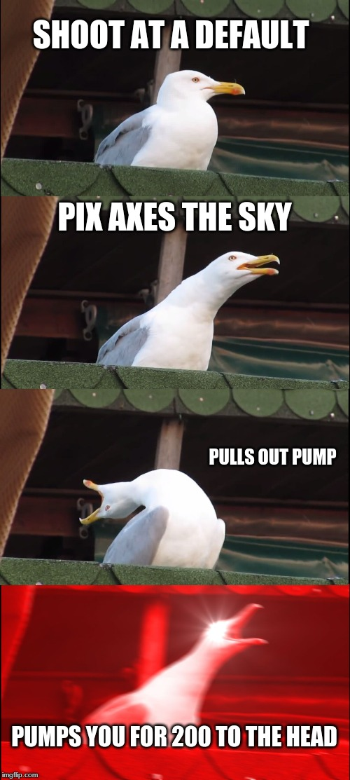 Inhaling Seagull Meme | SHOOT AT A DEFAULT PIX AXES THE SKY PULLS OUT PUMP PUMPS YOU FOR 200 TO THE HEAD | image tagged in memes,inhaling seagull | made w/ Imgflip meme maker