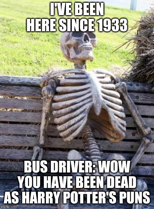 Waiting Skeleton Meme | I'VE BEEN HERE SINCE 1933 BUS DRIVER: WOW YOU HAVE BEEN DEAD AS HARRY POTTER'S PUNS | image tagged in memes,waiting skeleton | made w/ Imgflip meme maker
