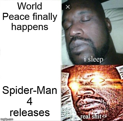 Sleeping Shaq Meme | World Peace finally happens Spider-Man 4 releases | image tagged in memes,sleeping shaq | made w/ Imgflip meme maker