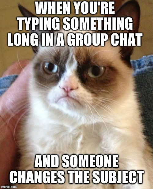 Grumpy Cat Meme | WHEN YOU'RE TYPING SOMETHING LONG IN A GROUP CHAT AND SOMEONE CHANGES THE SUBJECT | image tagged in memes,grumpy cat | made w/ Imgflip meme maker