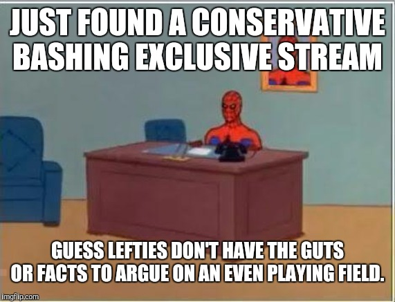 And looking through them the memos basically just whine about President Trump being horrible and bad |  JUST FOUND A CONSERVATIVE BASHING EXCLUSIVE STREAM; GUESS LEFTIES DON'T HAVE THE GUTS OR FACTS TO ARGUE ON AN EVEN PLAYING FIELD. | image tagged in memes,spiderman computer desk,spiderman,politics | made w/ Imgflip meme maker