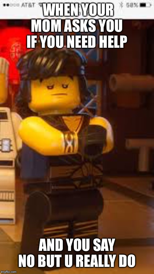 Cole#ninjago | WHEN YOUR MOM ASKS YOU IF YOU NEED HELP AND YOU SAY NO BUT U REALLY DO | image tagged in coleninjago | made w/ Imgflip meme maker