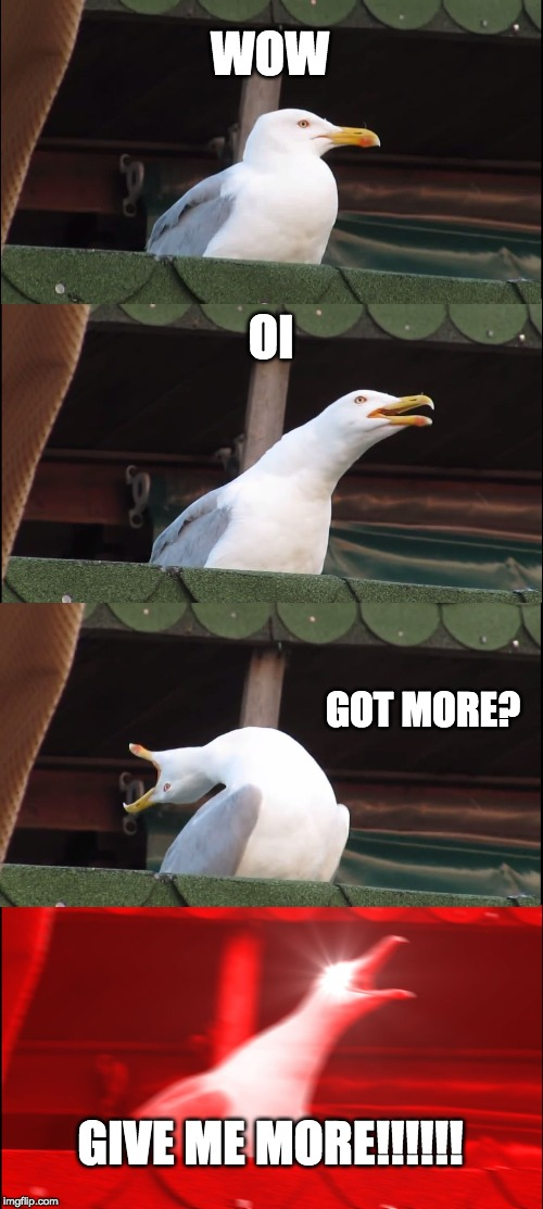 Inhaling Seagull Meme | WOW OI GOT MORE? GIVE ME MORE!!!!!! | image tagged in memes,inhaling seagull | made w/ Imgflip meme maker