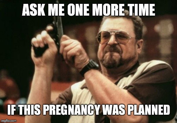 Am I The Only One Around Here Meme | ASK ME ONE MORE TIME IF THIS PREGNANCY WAS PLANNED | image tagged in memes,am i the only one around here | made w/ Imgflip meme maker